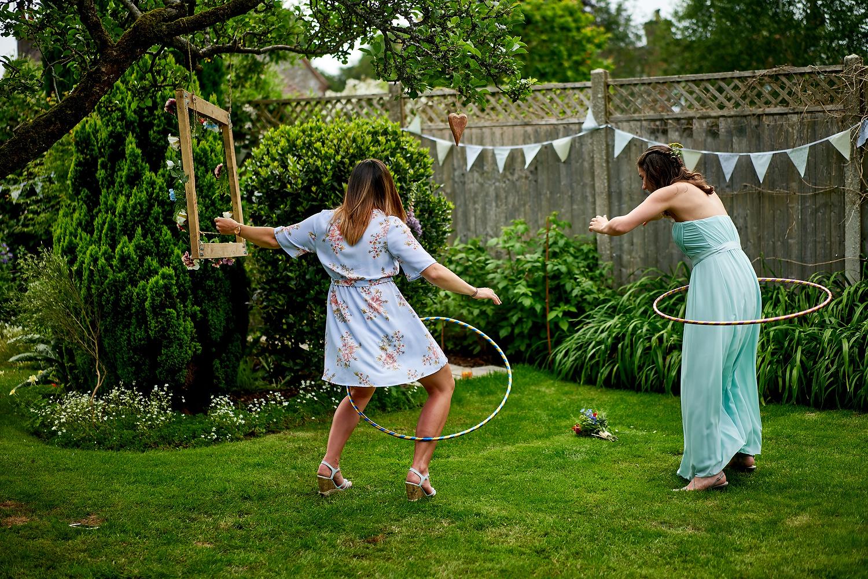 Hula hoops at Sussex village wedding