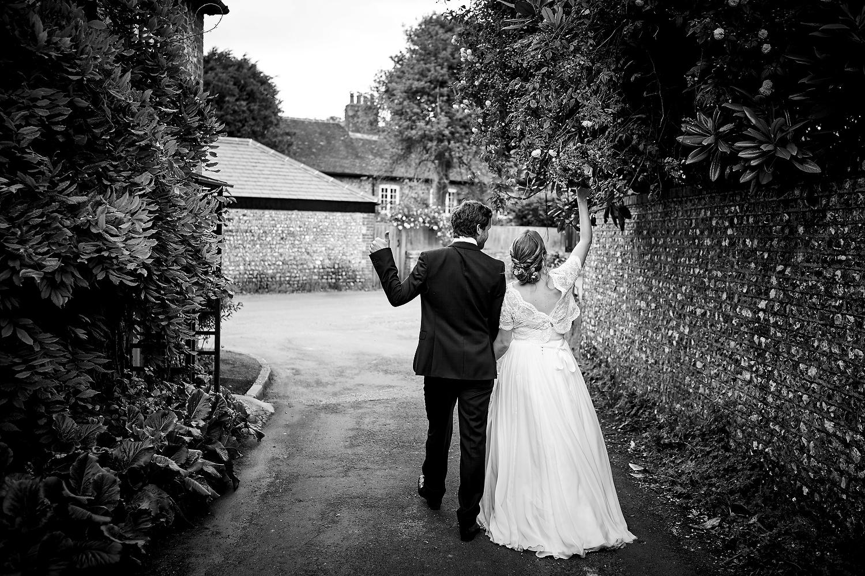 Bride and groom at Sussex village wedding