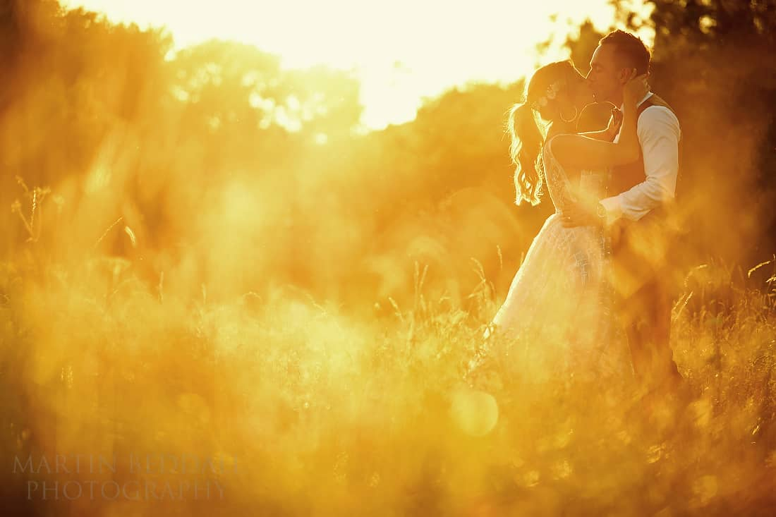 Sunset couple portrait at Barnsley House