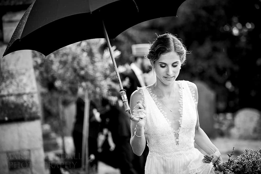 bride and umbrella