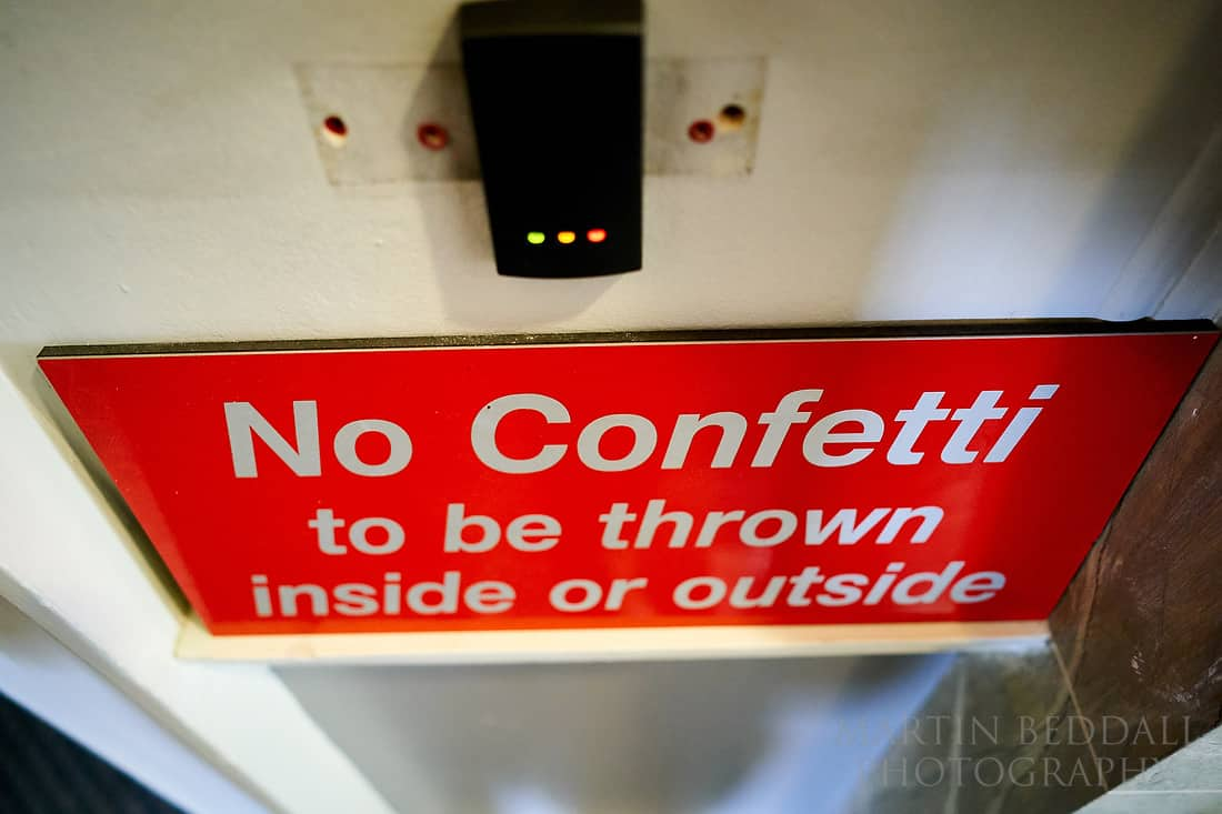 No confetti sign