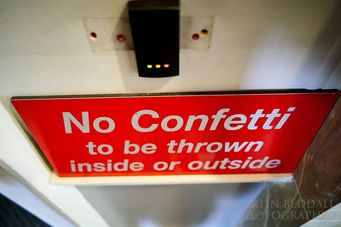 No confetti sign