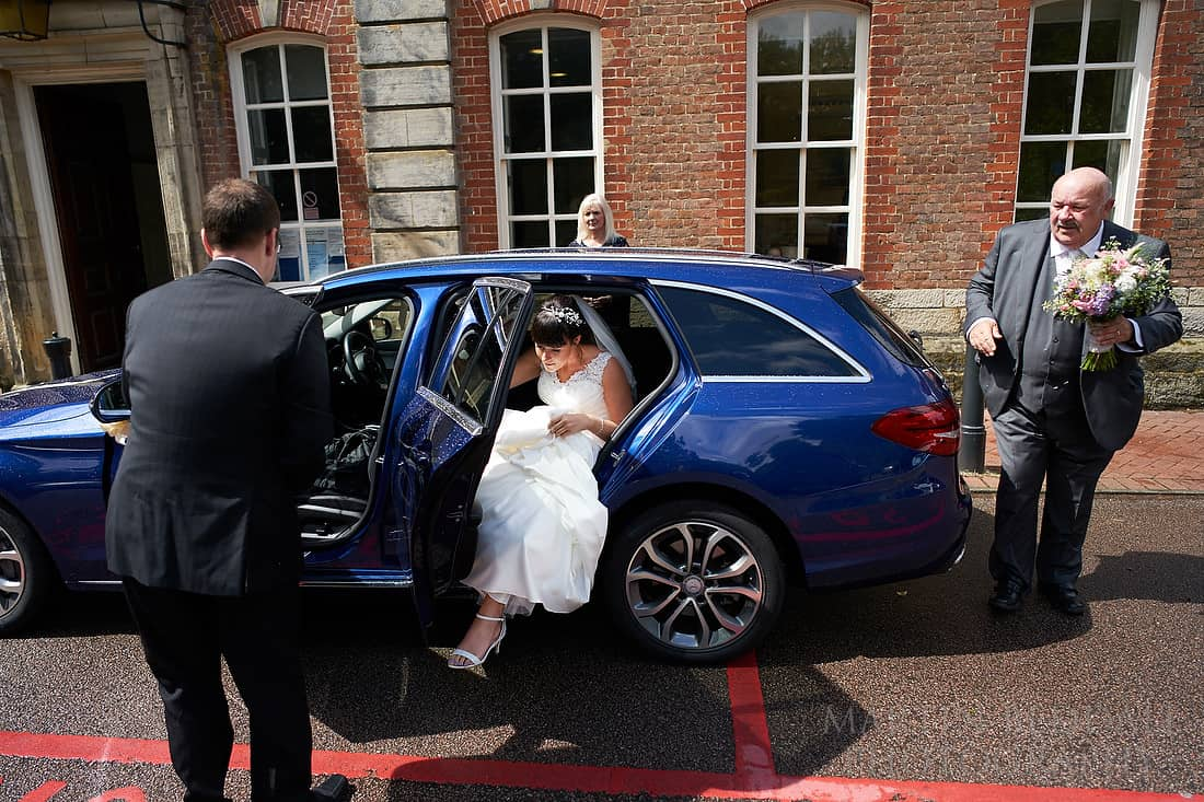 Bride arrives at Horsham registry office