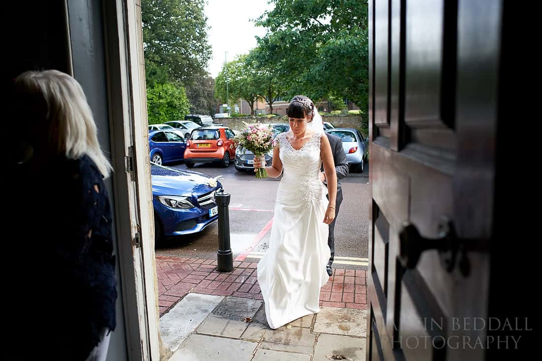 Bride enters Park House in Horsham