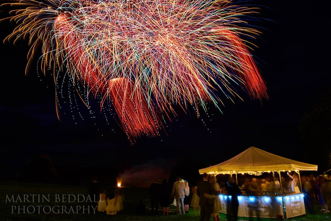 Fireworks at Glynde Place wedding