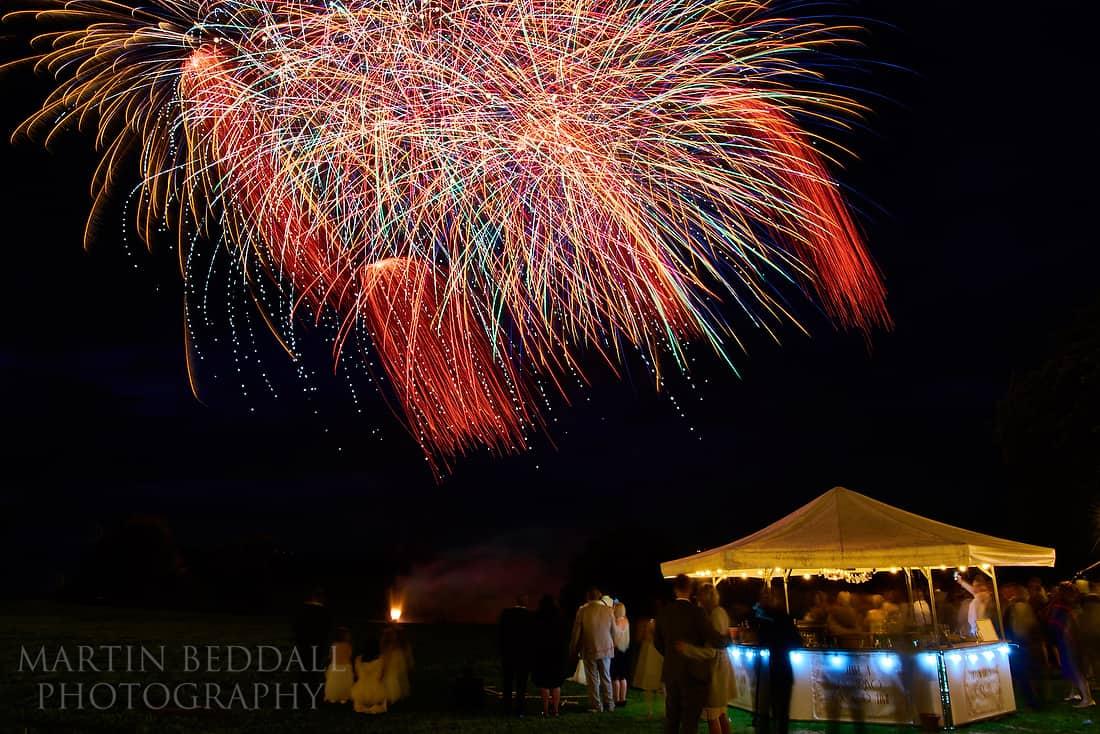 Fireworks at Glynde Place wedding