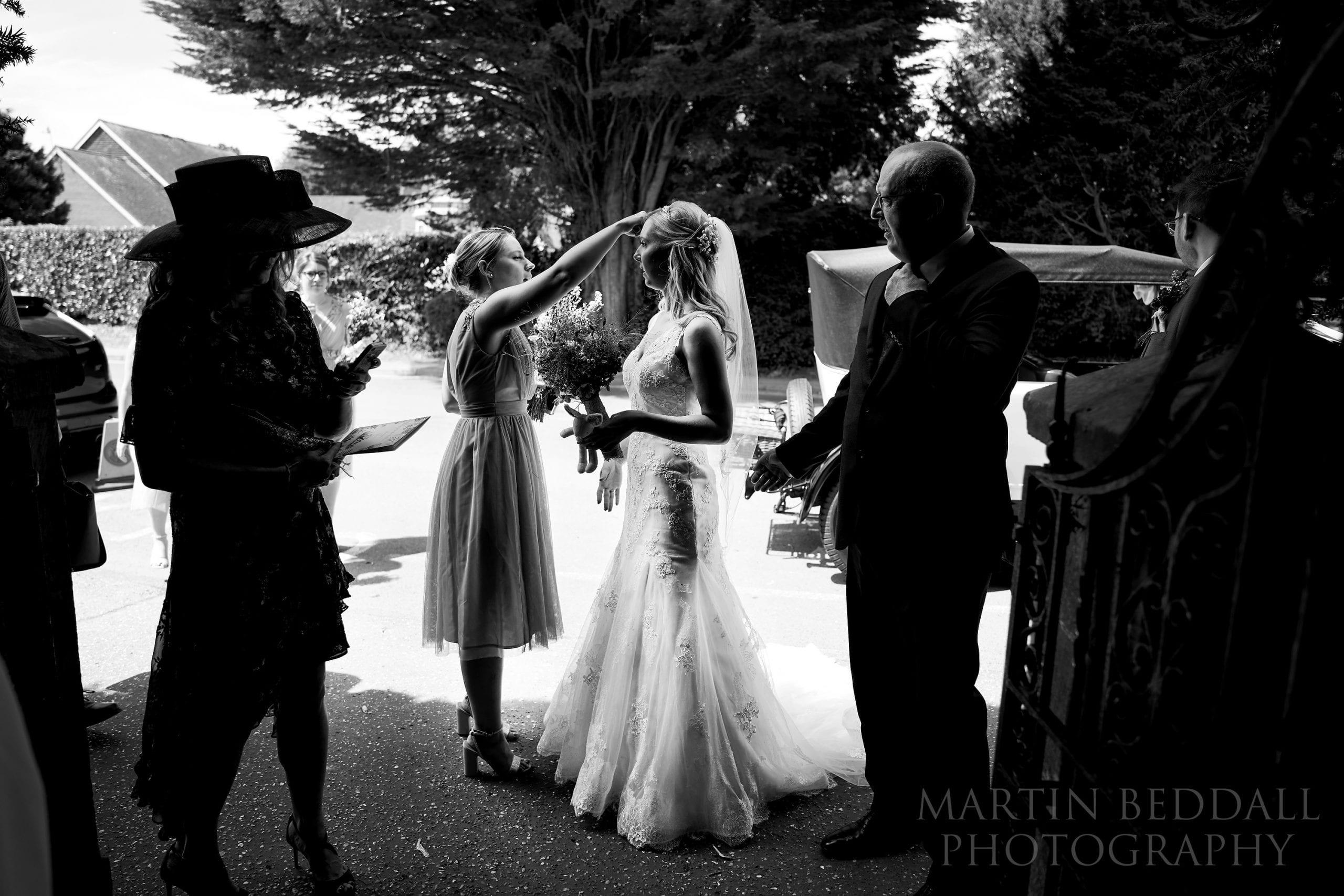 Warnham church wedding bride arrives
