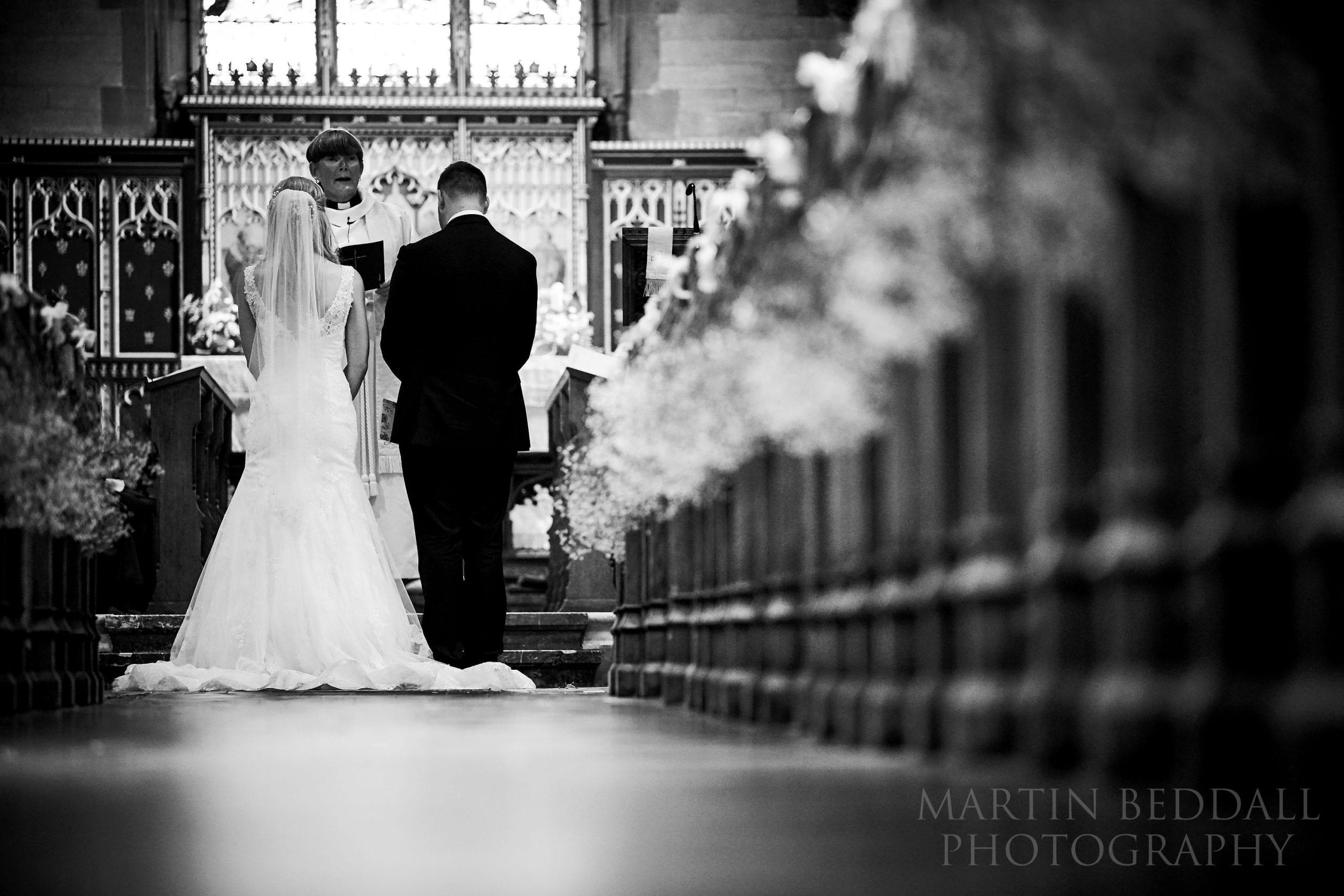 Wedding ceremony at Warnham church in West Sussex