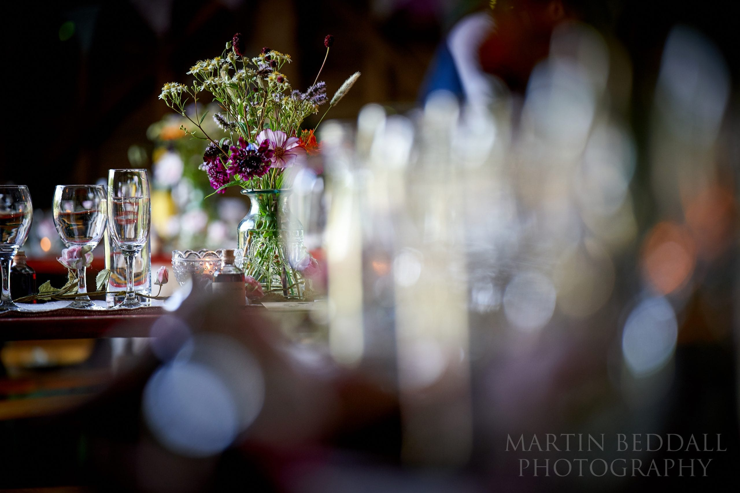 Wedding table decoration at the Secret Barn in West Sussex