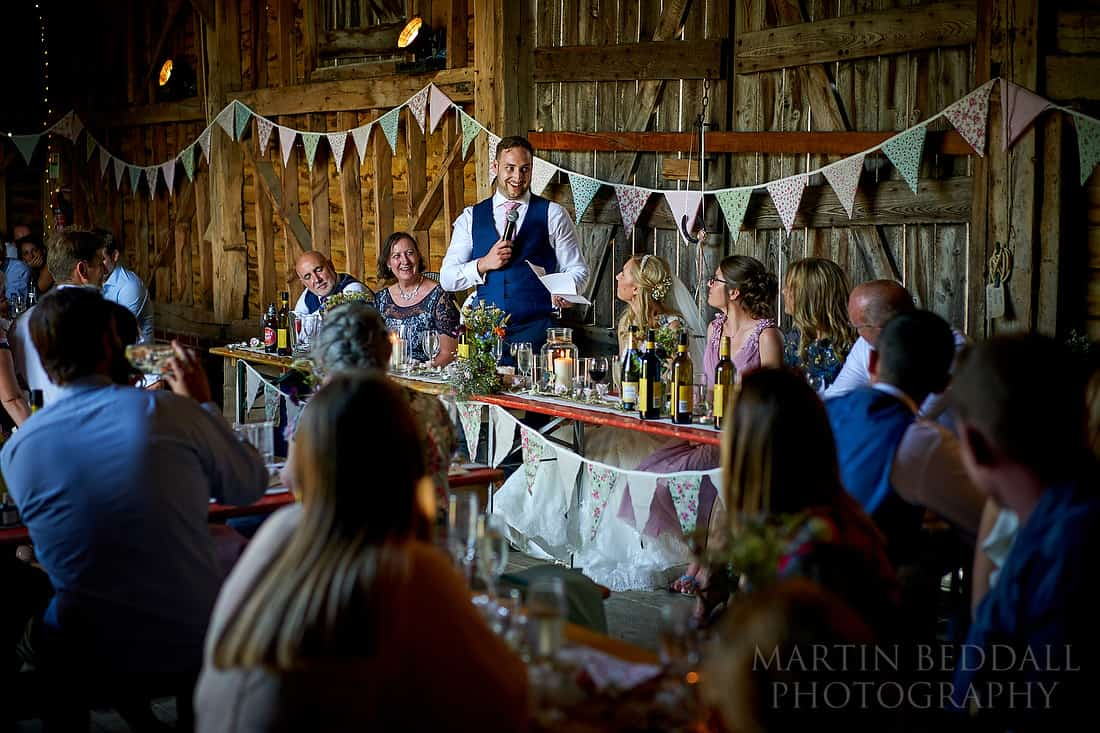 groom's speech at the secret barn