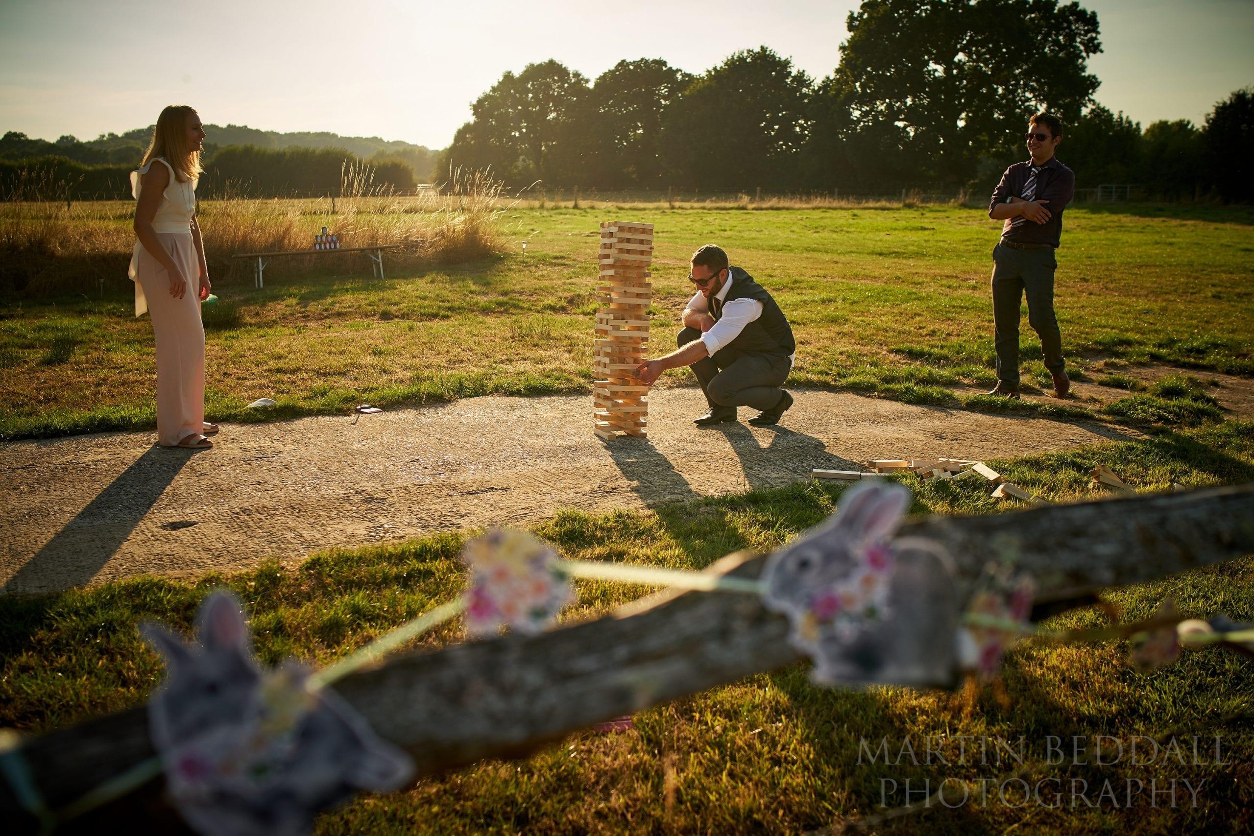 Summer evening wedding games