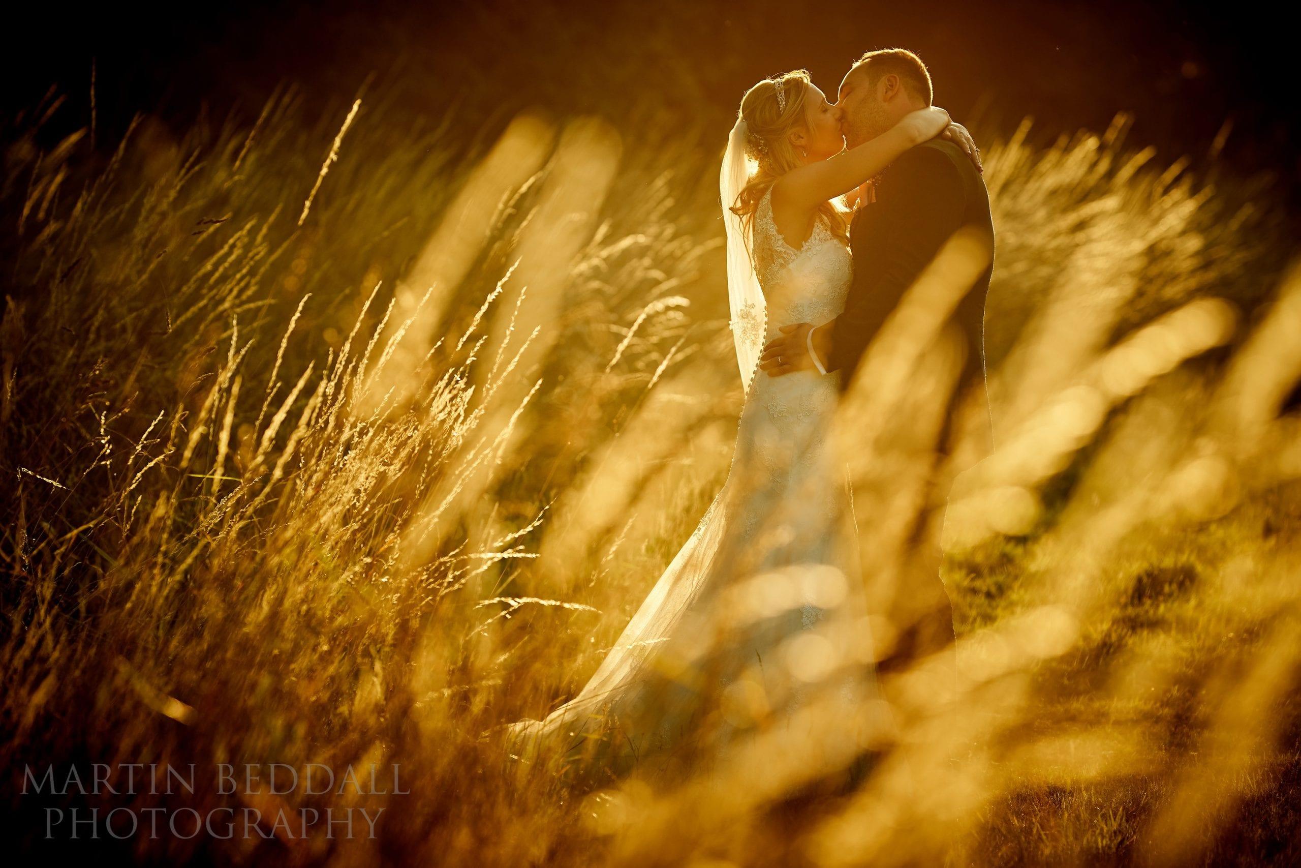 Secret Barn wedding portrait in the evening sunlight