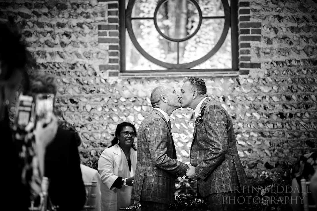 same-sex wedding ceremony at Cissbury Barns
