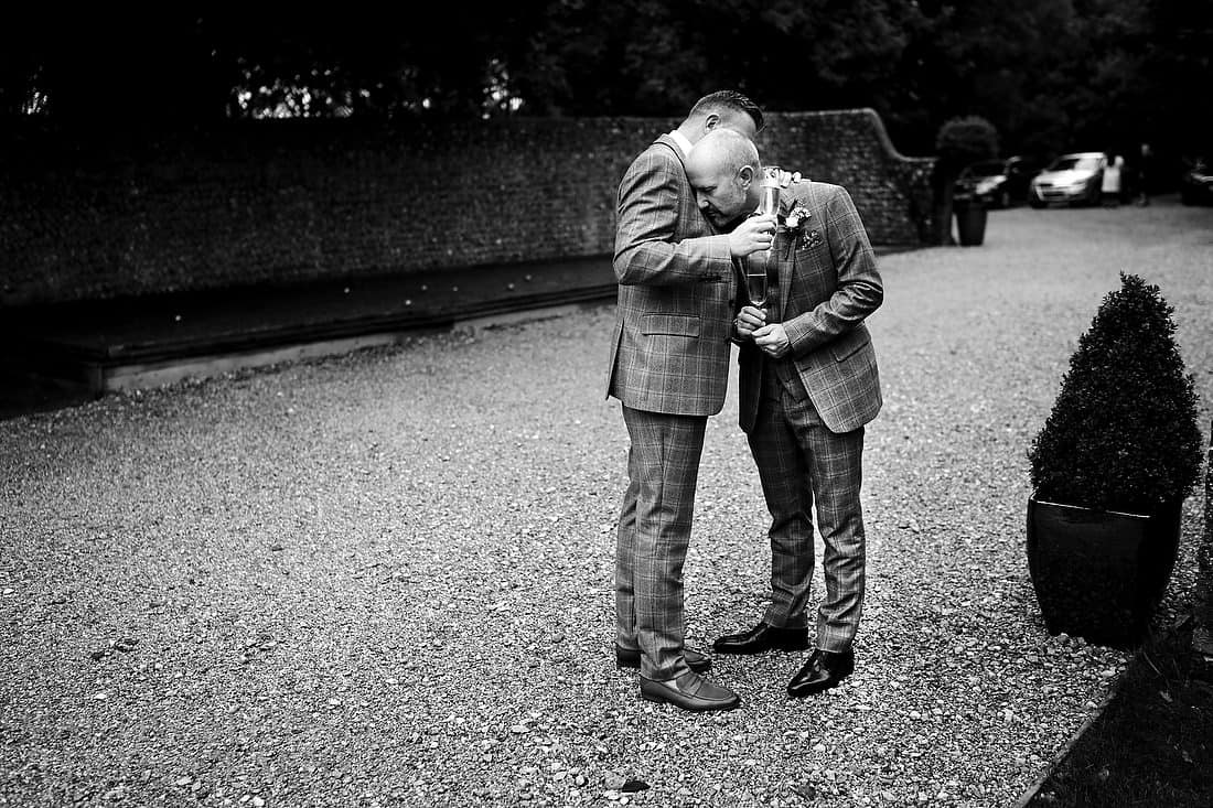 quiet moment of reflection at this same-sex wedding