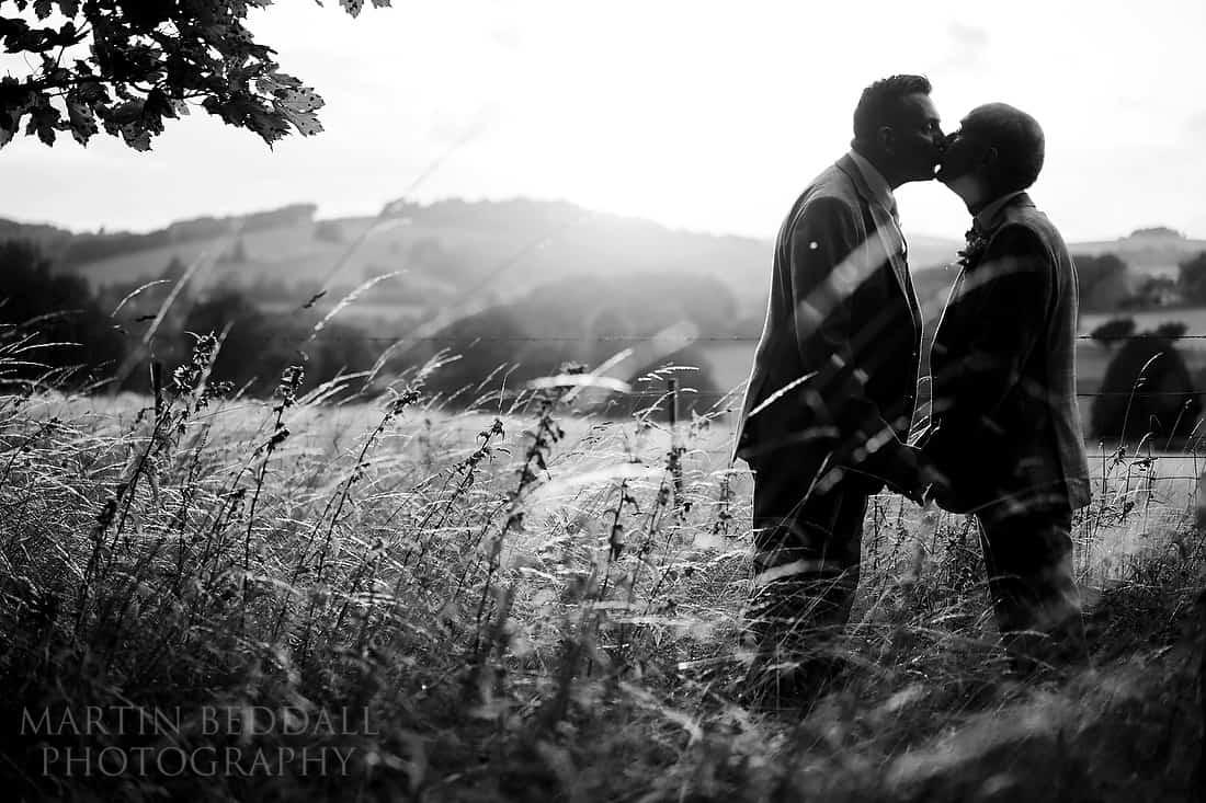 same-sex wedding portrait kiss