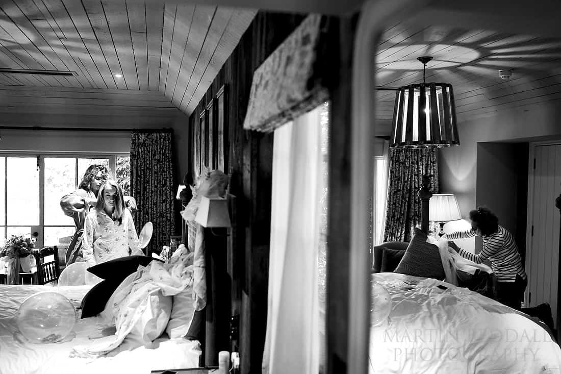 Getting ready in the lodge at the pig hotel