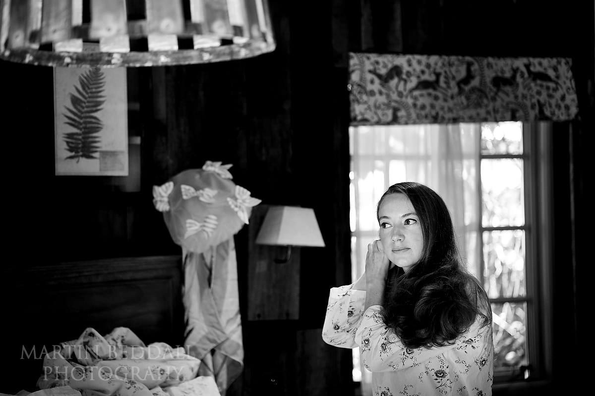 Bride getting reday at the Pig Hotel in Brockenhurst