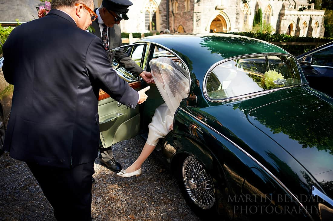 stepping out of the wedding car