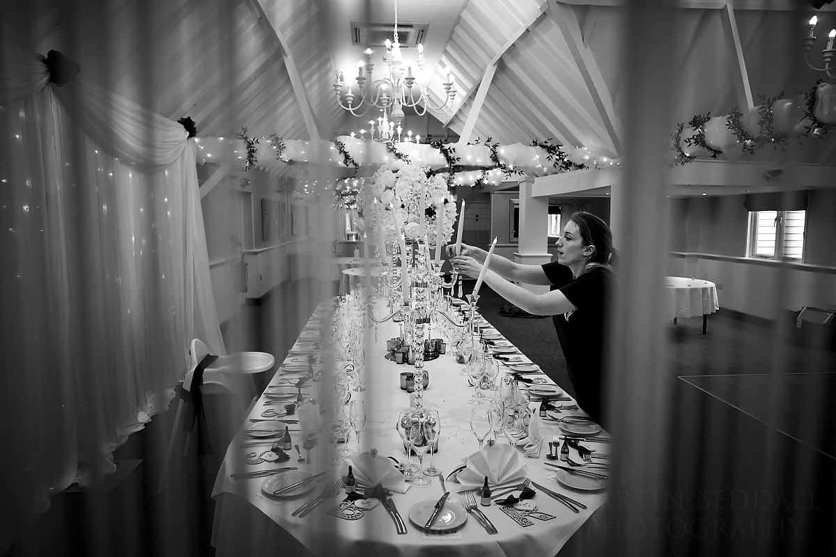 Preperations for a Rowhill Grange wedding