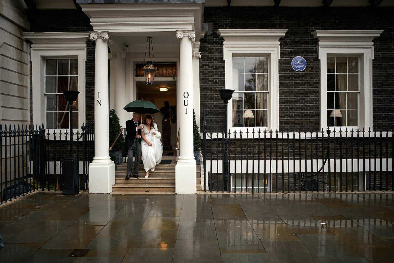 Bride leaves the In and Out Club in London