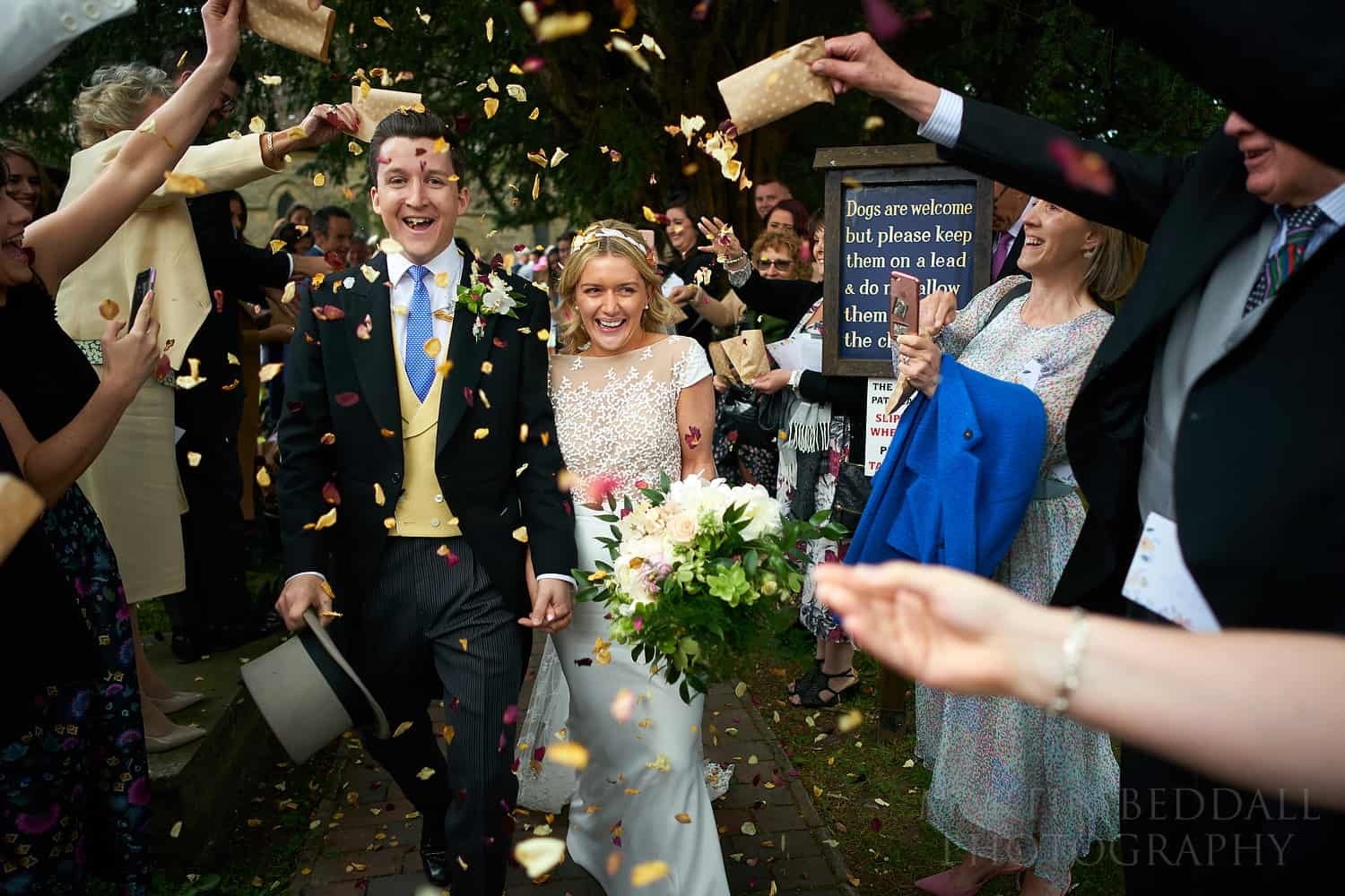 Confetti at a Sussex wedding