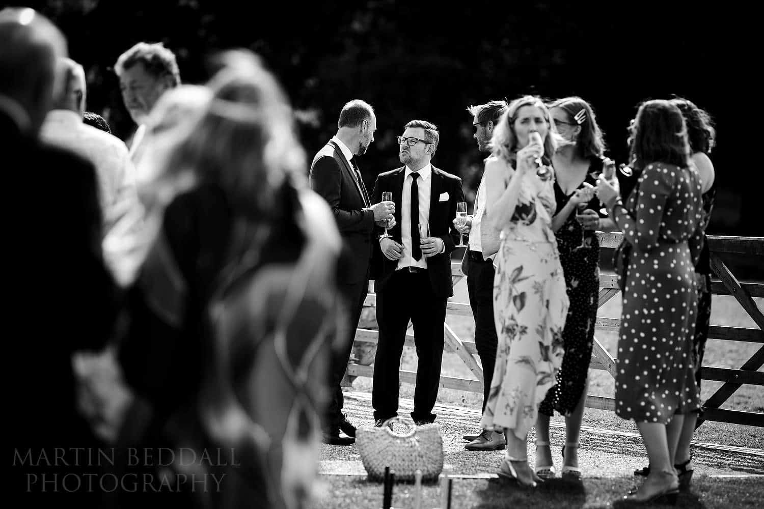 Wedding reception at Oak Barn in black and white