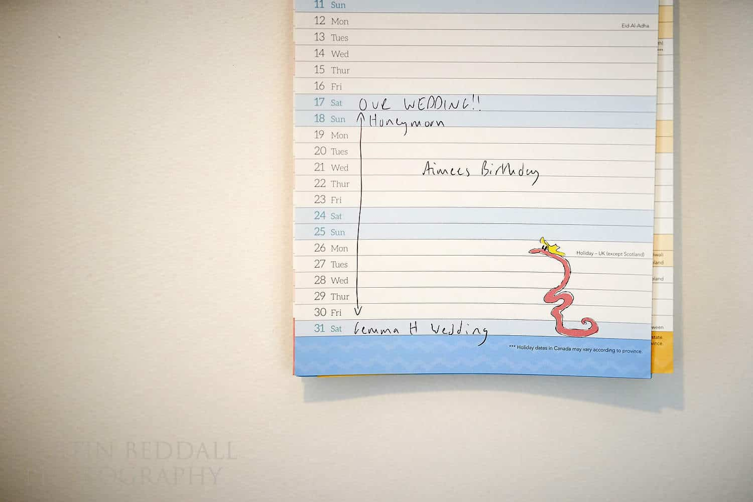 Wedding date marked on the kitchen calendar