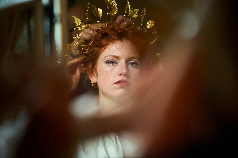 Bride wears a crown