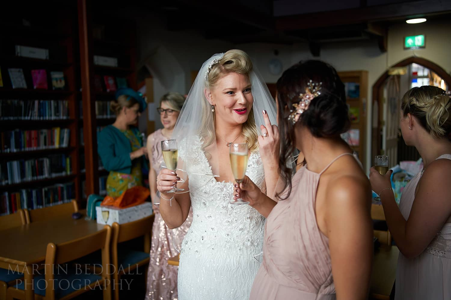 Bride joking with a friend