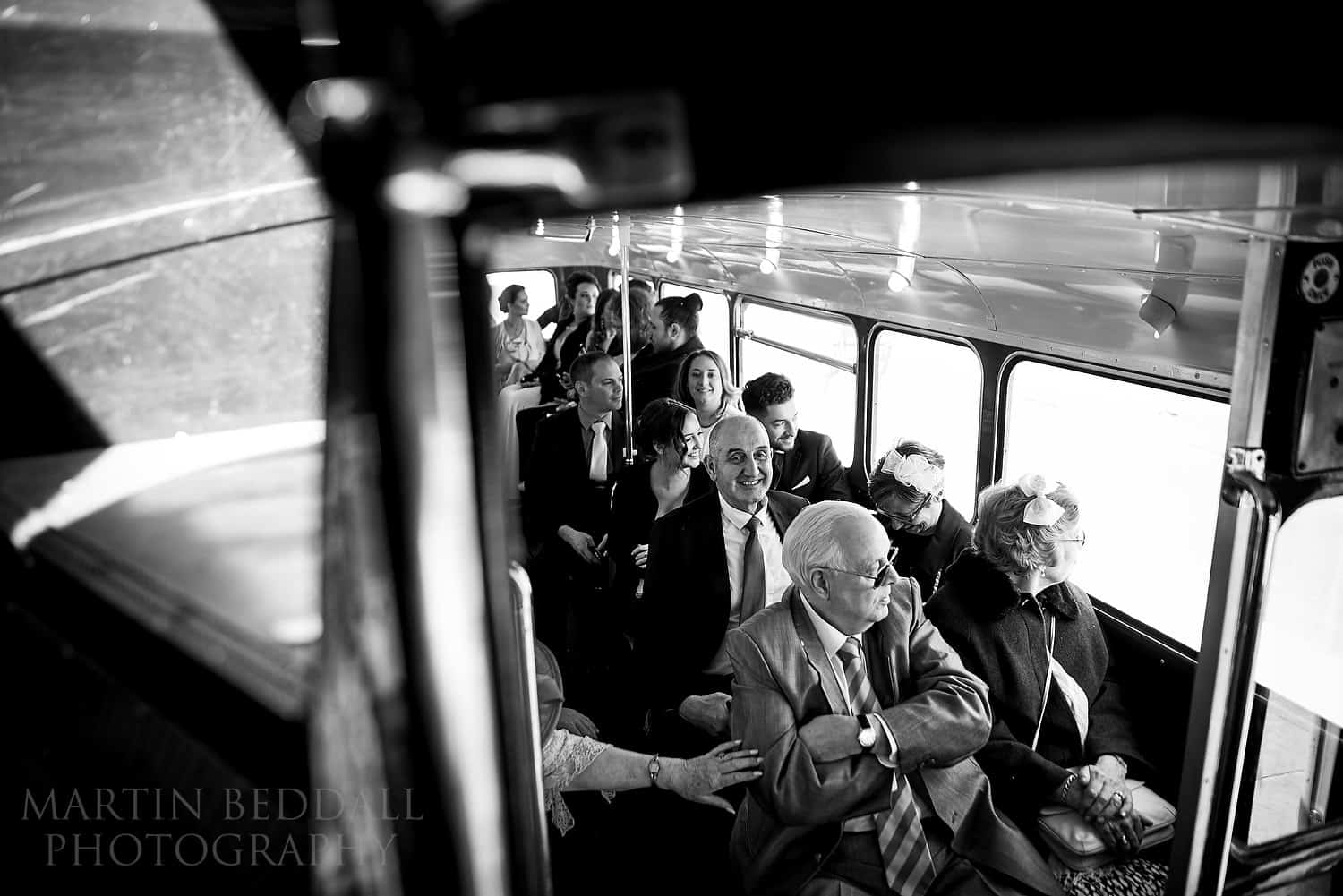 Wedding guests on the bus