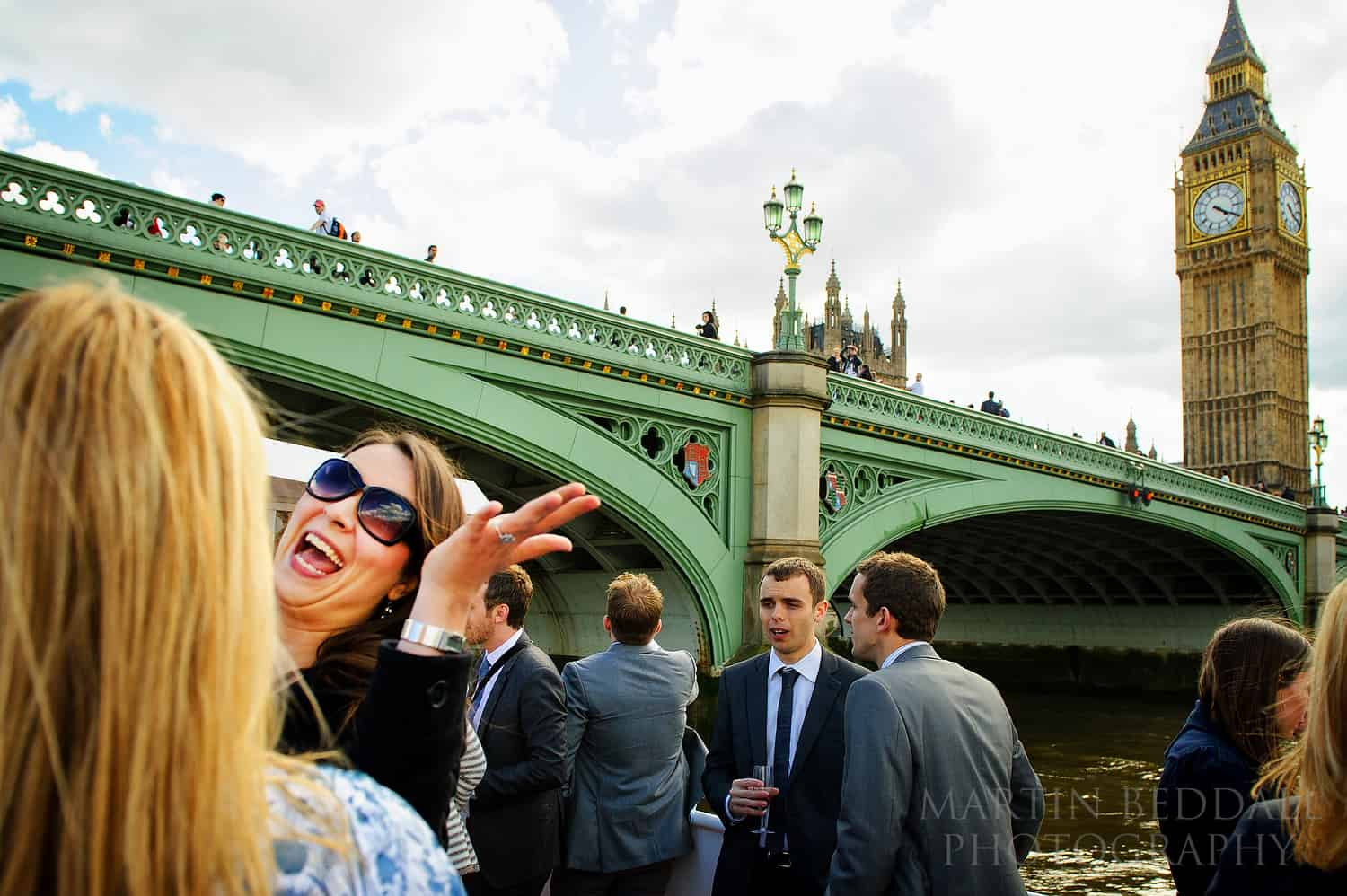 London wedding reception on the river Thames