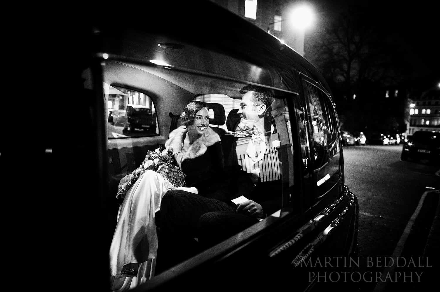 winter wedding london black cab