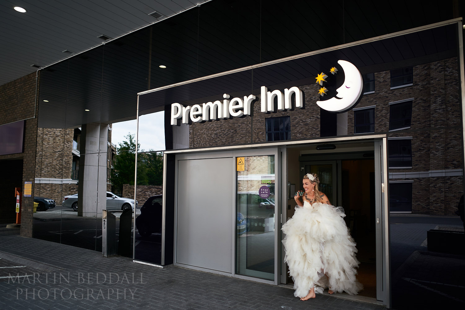 Bride leaves the Premier Inn hotel