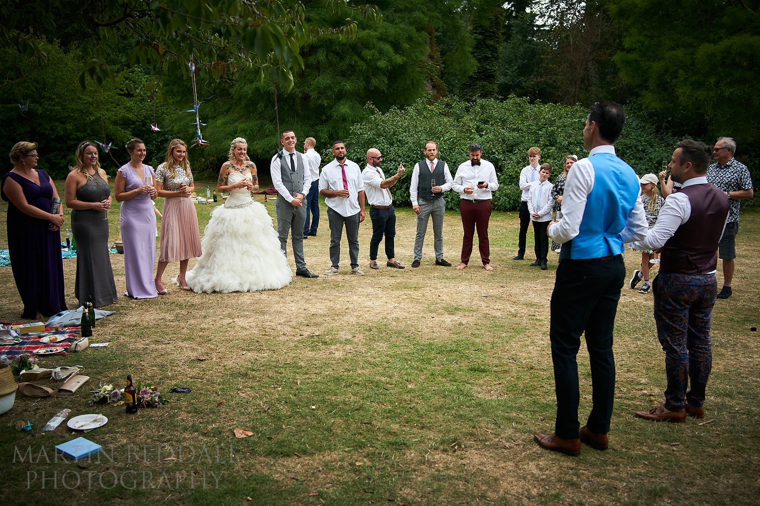 Wedding speeches in the park