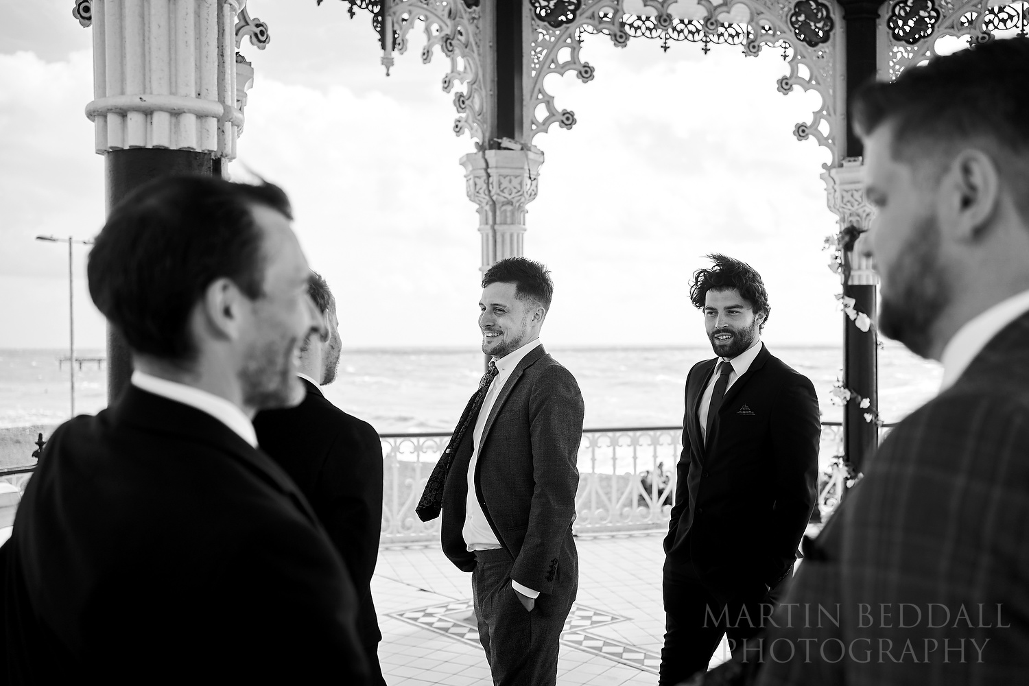Groom and his friends at the bandstand