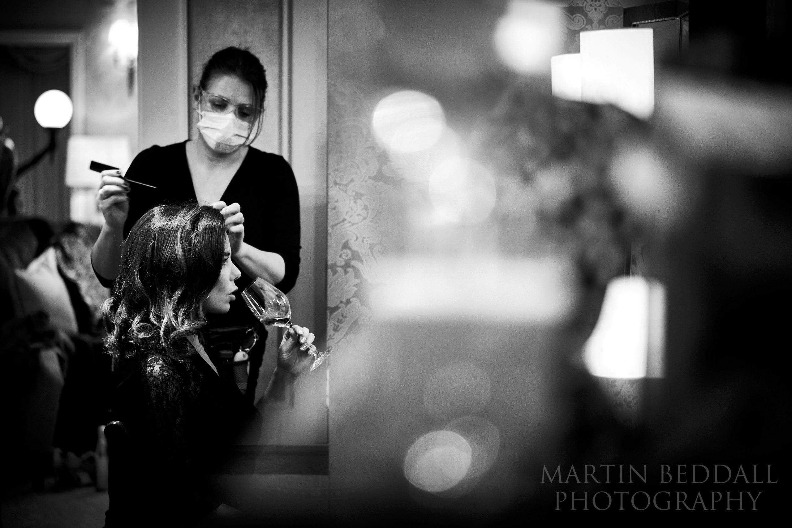 Bride getting ready at The Goring Hotel in London