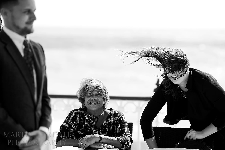 Windy wedding at Brighton bandstand