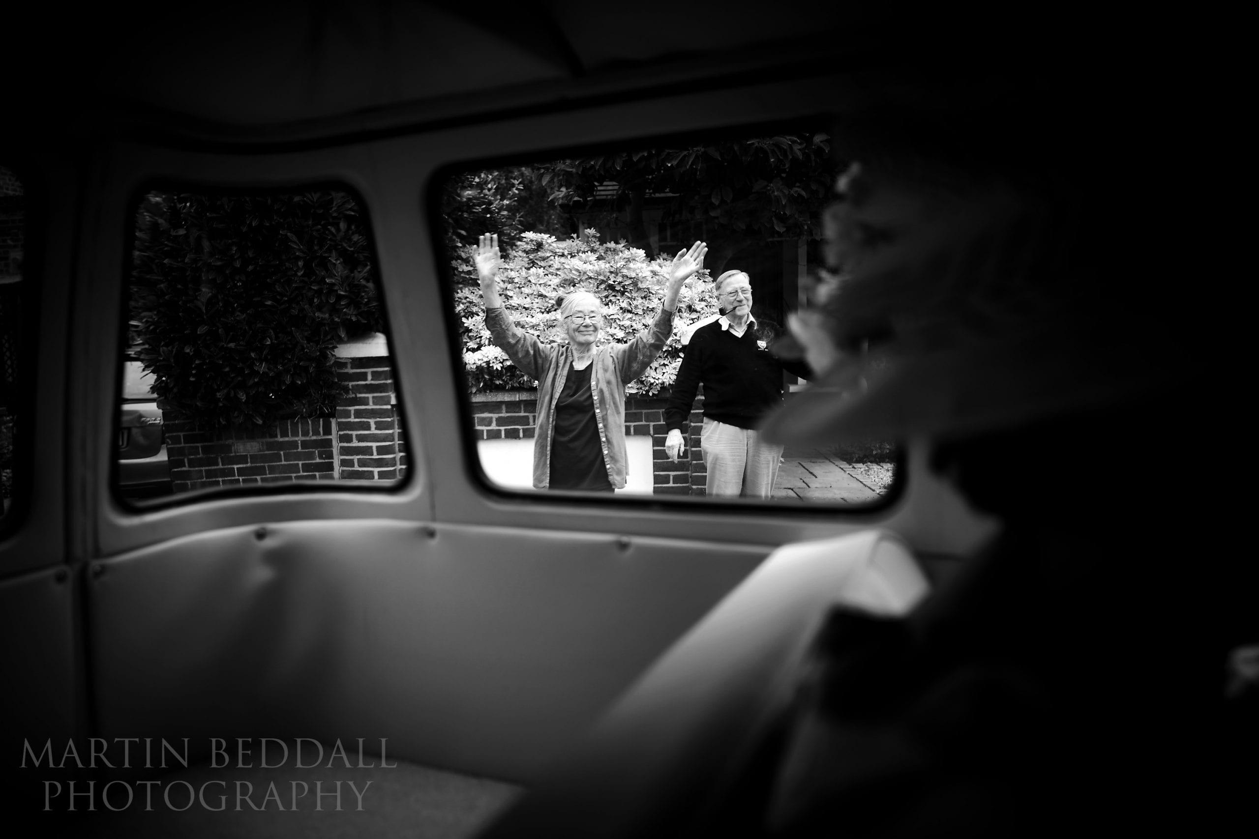 Waving off the bride