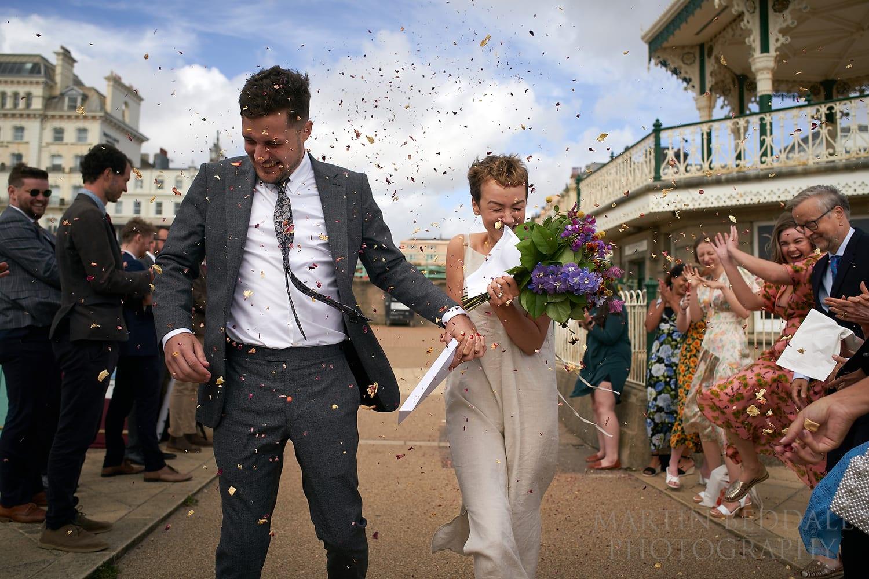 Wedding confetti next to Brighton Bandstand